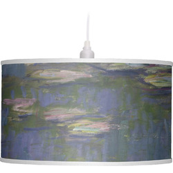 Water Lilies by Claude Monet Drum Pendant Lamp Linen