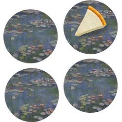 """Water Lilies by Claude Monet Set of 4 Glass Appetizer / Dessert Plate 8"""""""