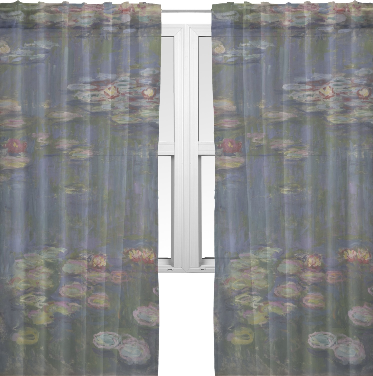 Water lilies by claude monet sheer sheer curtains 60 x60 for Painting sheer curtains