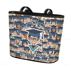 Graduating Students Bucket Tote w/ Genuine Leather Trim (Personalized)