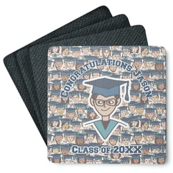 Graduating Students 4 Square Coasters - Rubber Backed (Personalized)