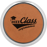 Graduating Students Leatherette Round Coaster w/ Silver Edge - Single or Set (Personalized)