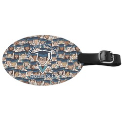 Graduating Students Genuine Leather Oval Luggage Tag (Personalized)
