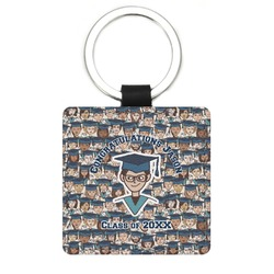 Graduating Students Genuine Leather Rectangular Keychain (Personalized)