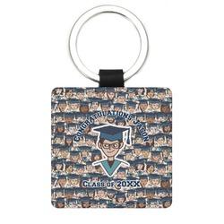 Graduating Students Genuine Leather Rectangular Keychain (Personalized)