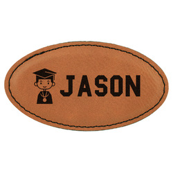 Graduating Students Leatherette Oval Name Badge with Magnet (Personalized)