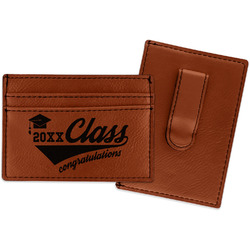 Graduating Students Leatherette Wallet with Money Clip (Personalized)