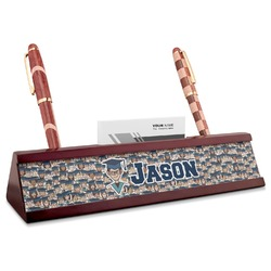 Graduating Students Red Mahogany Nameplate with Business Card Holder (Personalized)