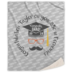 Hipster Graduate Sherpa Throw Blanket (Personalized)