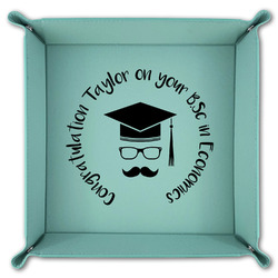 Hipster Graduate Teal Faux Leather Valet Tray (Personalized)