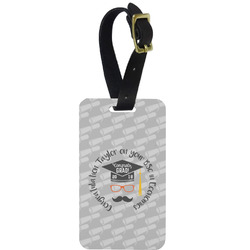 Hipster Graduate Metal Luggage Tag w/ Name or Text