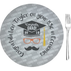 """Hipster Graduate 8"""" Glass Appetizer / Dessert Plates - Single or Set (Personalized)"""