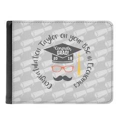 Hipster Graduate Genuine Leather Men's Bi-fold Wallet (Personalized)