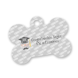 Hipster Graduate Bone Shaped Dog Tag (Personalized)