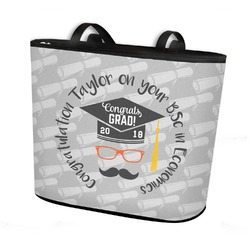 Hipster Graduate Bucket Tote w/ Genuine Leather Trim (Personalized)