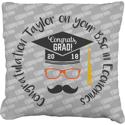 Hipster Graduate Faux-Linen Throw Pillow (Personalized)