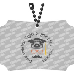 Hipster Graduate Rear View Mirror Ornament (Personalized)