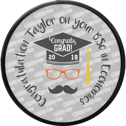 Hipster Graduate Round Trailer Hitch Cover (Personalized)
