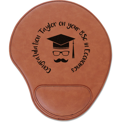 Hipster Graduate Leatherette Mouse Pad with Wrist Support (Personalized)