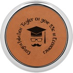Hipster Graduate Leatherette Round Coaster w/ Silver Edge - Single or Set (Personalized)
