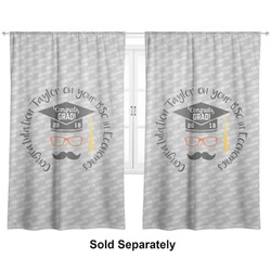 "Hipster Graduate Curtains - 40""x84"" Panels - Unlined (2 Panels Per Set) (Personalized)"
