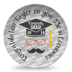 Hipster Graduate Microwave Safe Plastic Plate - Composite Polymer (Personalized)