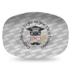 Hipster Graduate Plastic Platter - Microwave & Oven Safe Composite Polymer (Personalized)