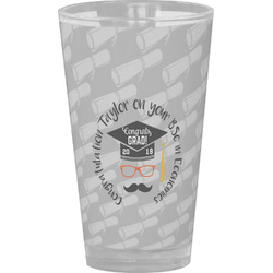 Hipster Graduate Drinking / Pint Glass (Personalized)