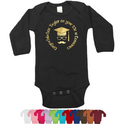 Hipster Graduate Foil Bodysuit - Long Sleeves - 0-3 months - Gold, Silver or Rose Gold (Personalized)