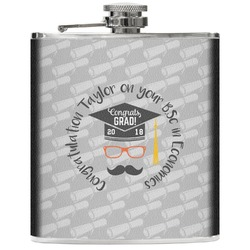 Hipster Graduate Genuine Leather Flask (Personalized)