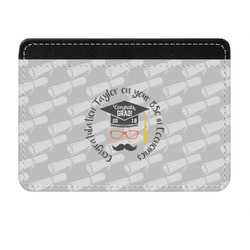 Hipster Graduate Genuine Leather Front Pocket Wallet (Personalized)