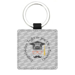 Hipster Graduate Genuine Leather Rectangular Keychain (Personalized)