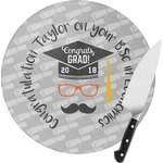 Hipster Graduate Round Glass Cutting Board (Personalized)