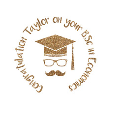 Hipster Graduate Glitter Iron On Transfer- Custom Sized (Personalized)