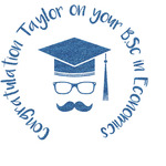 Hipster Graduate Glitter Sticker Decal - Custom Sized (Personalized)