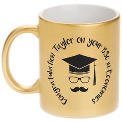Hipster Graduate Gold Mug (Personalized)