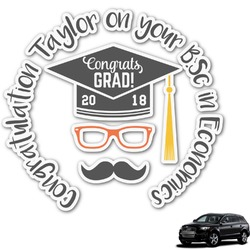 Hipster Graduate Graphic Car Decal (Personalized)
