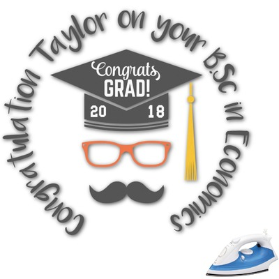Hipster Graduate Graphic Iron On Transfer (Personalized)