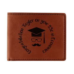 Hipster Graduate Leatherette Bifold Wallet - Double Sided (Personalized)