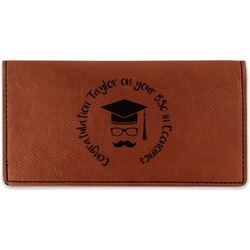 Hipster Graduate Leatherette Checkbook Holder - Double Sided (Personalized)
