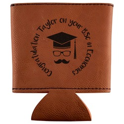 Hipster Graduate Leatherette Can Sleeve (Personalized)