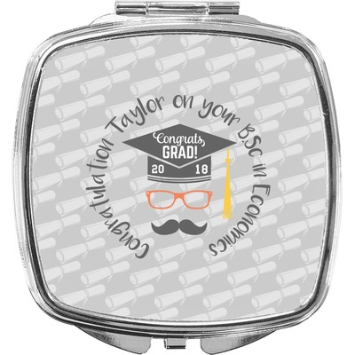 Hipster Graduate Compact Makeup Mirror (Personalized)