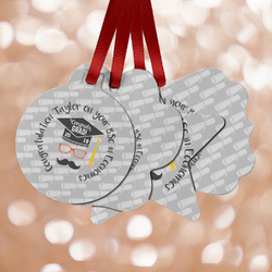 Hipster Graduate Metal Ornaments - Double Sided w/ Name or Text