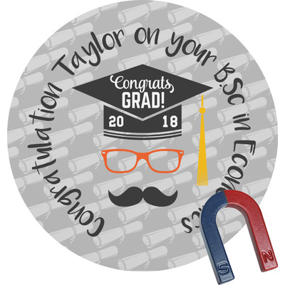 Hipster Graduate Round Fridge Magnet (Personalized)