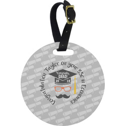Hipster Graduate Round Luggage Tag (Personalized)