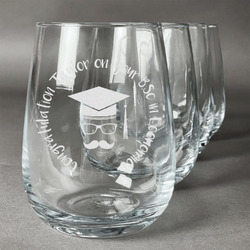 Hipster Graduate Wine Glasses (Stemless- Set of 4) (Personalized)