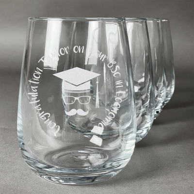 Hipster Graduate Stemless Wine Glasses (Set of 4) (Personalized)