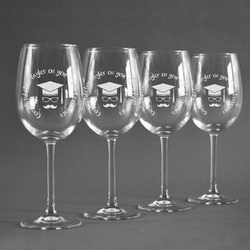 Hipster Graduate Wineglasses (Set of 4) (Personalized)