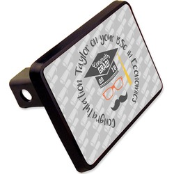 """Hipster Graduate Rectangular Trailer Hitch Cover - 2"""" (Personalized)"""