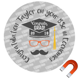 Hipster Graduate Round Car Magnet (Personalized)